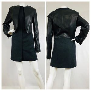 Vera Wang Black Wool Leather Dressy Coat
